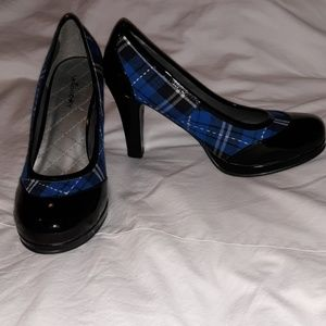 Union Bay Plaid & Patent Leather Rockabilly Heels